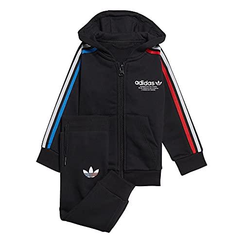 adidas GN7418 Hoodie FZ Set Tuta da Ginnastica Unisex - Bimbi 0-24 Top:Black Bottom:Black 1218