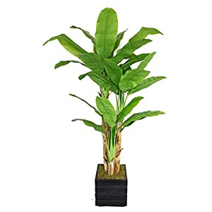 Vintage Home 78″ Tall Banana Tree with Real Touch Leaves in Planter Artificial Plant, Black