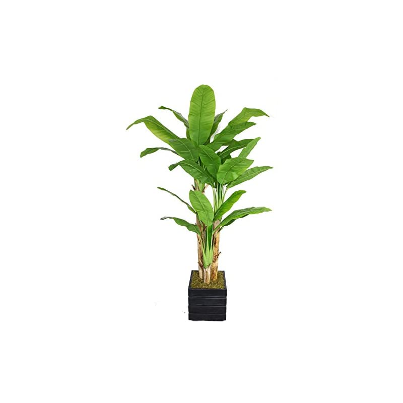 """silk flower arrangements vintage home 78"""" high green emerald artificial faux banana tree with black/grey fiberstone planter for home decor"""