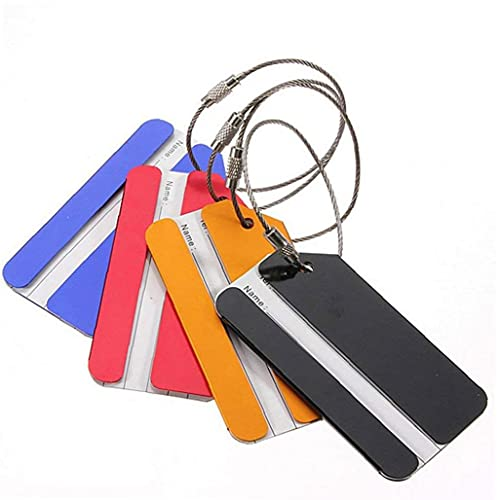 Ruluti 5pcs Secure Personalized Luggage Tags Durable Travel Id Bag Aluminum Alloy Labels Luggage Consignment Card