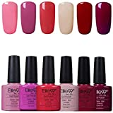 Elite99 Esmaltes Semipermanentes de Uñas en Gel UV LED, 6pcs Kit de Esmaltes de Uñas en Gel Soak Off 002