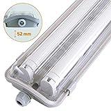 proventa® LED-Feuchtraumleuchte 120 cm, IP65, mit 2 LED-Röhren, Energieklasse A , 4.000 K, 2x 18 W, 3.600 Lumen, hellgrau, Abdeckung transparent