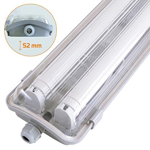 proventa® LED-Feuchtraumleuchte 120 cm, IP65, mit 2 LED-Röhren, Energieklasse A+, 4.000 K, 2x 18 W, 3.600 Lumen, hellgrau, Abdeckung transparent
