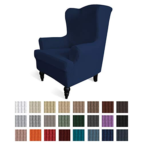 Easy-Going Stretch Wingback Chair Sofa Slipcover 1-Piece Sofa Cover Furniture Protector Couch Soft with Elastic Bottom Spandex Jacquard Fabric Small Checks(Wing Chair,Navy)