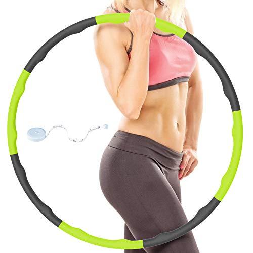 RIRGI Hoola Hoop Reifen Erwachsene & Kinder, Hula Hoop zum Abnehmen und Massage, 8-Abschnitt abnehmbar Hullahub Reifen mit Schaumstoff, Hoola Hup Reifen Fitness für Training/ABS mit Mini Bandmaß