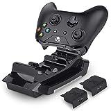 Rii Gaming GC001 - Xbox Wireless Docking Station, Base de carga inalámbrica con 2 baterías de litio recargables (600 mAh) para Xbox One y Xbox One S