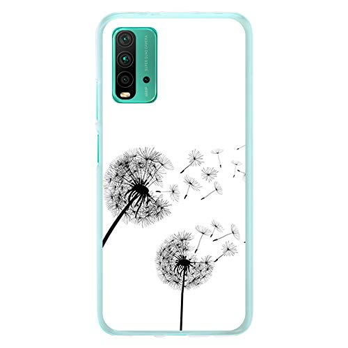 Funda Transparente para [ Xiaomi Redmi 9T ], Carcasa de Silicona Flexible TPU, diseño : Flores Diente de Leon