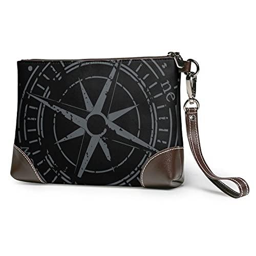 mengmeng Vintage Compass 4 Bolso de la muñeca Cuero auténtico Bolsos de pulsera para las mujeres bolso de embrague bolsos con correa de muñeca y cierre de cremallera