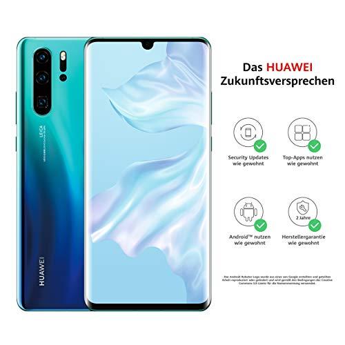 HUAWEI P30 Pro Dual-SIM Smartphone B&le (6,47 Zoll, 256 GB ROM, 8 GB RAM, Android 9.0) Aurora + USB-Adapter [Exklusiv bei Amazon] - DE Version