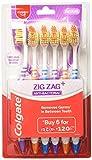 Colgate ZigZag - Cepillo de dientes para limpieza dental profunda con cerdas multiangulares (mediano, 6 unidades)