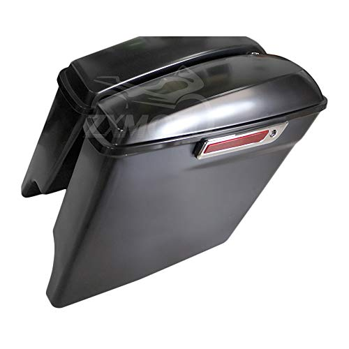 Best Review Of ZXMOTO Matte Black 5 Stretched Extended Hard Saddlebags with Lid Latch Keys Set Fits...