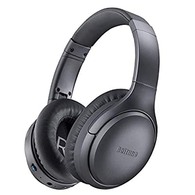 Active Noise Cancelling Headphones, Boltune[2020 Upgrade] Bluetooth 5.0 Over Ear Wireless Headphones with Mic Deep Bass, Comfortable Protein Earpads 30H Playtime for Travel Work TV PC Cellphone from Boltune