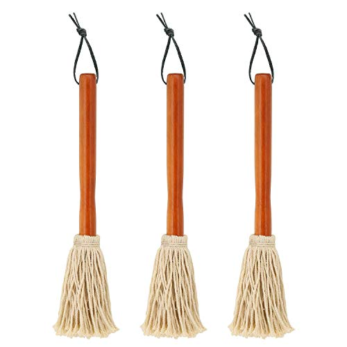 """12"""" BBQ Basting Mops for Roasting or Grilling, Apply Barbeque Sauce, Marinade or Glazing, Cotton Fiber Head and Natural Hardwood Handle, Dish Mop Style, Perfect for Cooking or Cleaning - Pack of 3"""