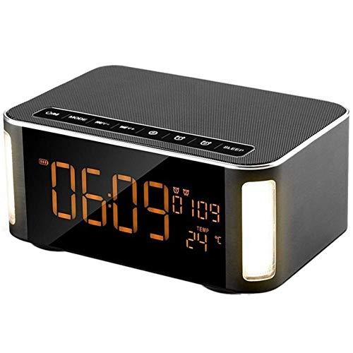 Drahtloser Bluetooth-Lautsprecher, Lautsprecher, Wecker Bluetooth-Lautsprecher mit LED, FM-Radio, Freisprecheinrichtung, Zwei passiven Subwoofern, Zeit, Tempe Bringen Sie eine hervorragende Erfahrung