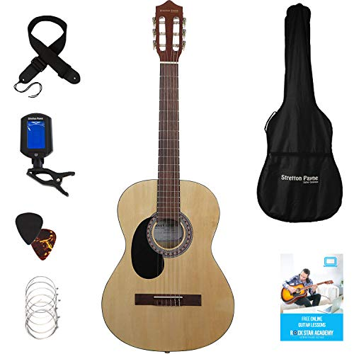 Stretton Payne Classical Guitar Full Size 4/4 (39' inch) Spanish Style...
