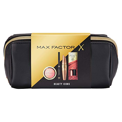 Max Factor Beauty Icons Christmas Gift Set, includes Rise and Shine Mascara, High Definition Liner, Crème Puff Blush and Lipfinity Lip Colour, plus Cosmetic Bag