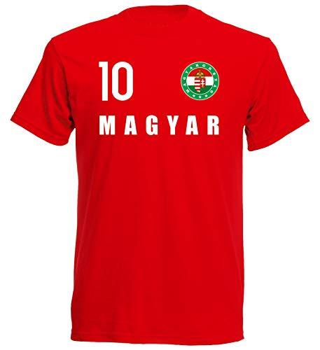 Nation Maglietta Ungheria con stemma FH 10 RO Colore: rosso L
