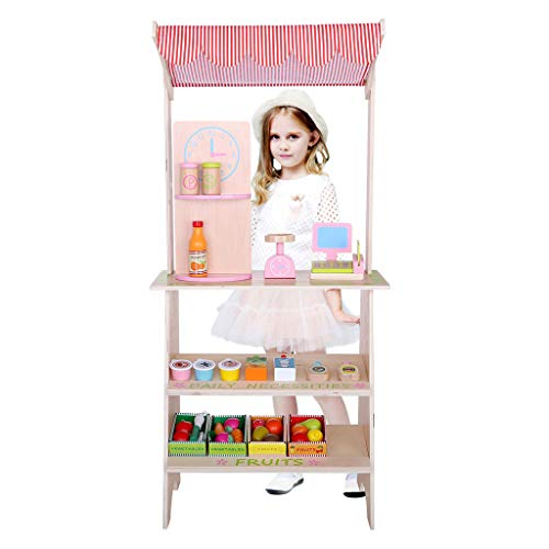 XGao Canteen Toy Cart Grocery Set Fun Kitchen for Children's Home Cooking Tableware Wooden Simulation Portable House Sale Best Interaction Gifts Boys and Girls (Multicolor)