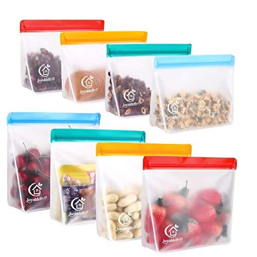 Joyoldelf Bolsas Silicona Reutilizables, 8PCS PEVA Bolsas de Silicona Reutilizables, Bolsas Verticales Con, Bolsas Herméticas para Congeladores, Ideal para Fruta Verduras Carne Sándwich y Líquida