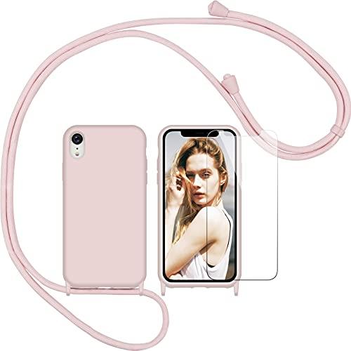 Nupcknn Funda Silicona con Cuerda para iPhone XR y Protector Pantalla, Carcasa Suave Silicona Case con Correa Colgante Ajustable Collar Correa de Cuello Cadena Cordón(Oro Rosa)