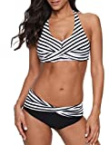 Women's Sporty Two Piece Swimsuits Halter Push Up Bathing Suits Athletic Swimwear for Women Black White Striped S