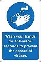 アルミメタルノベルティ危険サイン、ウイルスの拡散を防ぐために少なくとも20秒間手を洗ってくださいバーカフェホテルオフィスカフェテリアのアートデコレーション