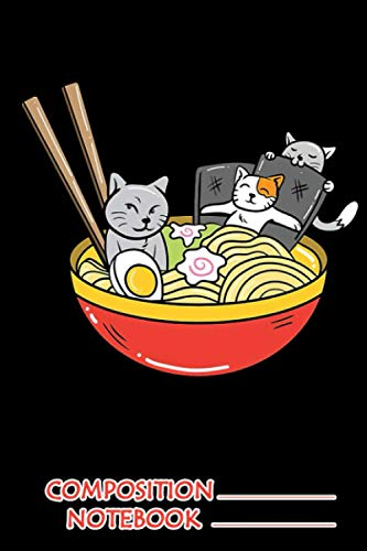 Anime Cat Japanese Ramen Noodles Foodie Gift Notebook