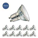 Sanlumia Bombillas LED GU10, 6W = 75W Halógena, 500Lm, Blanco Neutro (4000K), Ultra Brillante, Iluminación de Techo para Cocina, Oficina, o Baño, 110° ángulo de haz,Paquete de 10