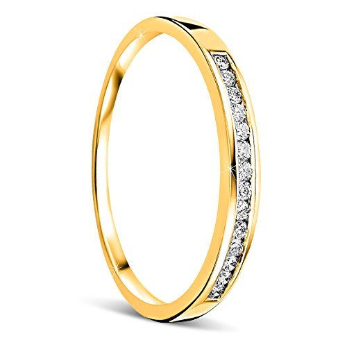 Orovi Women's Ring Memoire Wedding Ring 18 Carat (750) Yellow Gold Brilliant 0.10 Carat Engagement Ring Diamond Ring