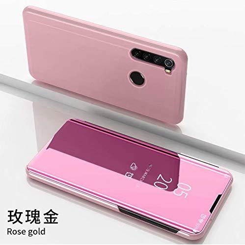 TiHen Funda Xiaomi Redmi 5 Plus,Funda + Cristal Templado 2 Piezas Flip Clear View Translúcido Espejo Standing Cover Slim Fit Mirror 360°Protectora Cubierta para Xiaomi Redmi 5 Plus Oro Rosa