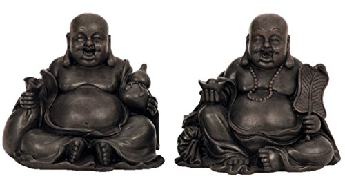 2 x große Buddha Figuren sitzend und lachend 15 cm x 12 cm x 9,5 cm Asia Feng Shui