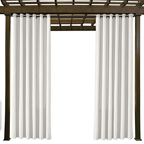 Wasserdicht, Verblassen Widerstandsfähig Terrasse Vorhänge Weiß 508B x 213H cm, Outdoor Vorhang mit Rustproof Ösen für Pergola, Cabana, Covered Patio, Gazebo