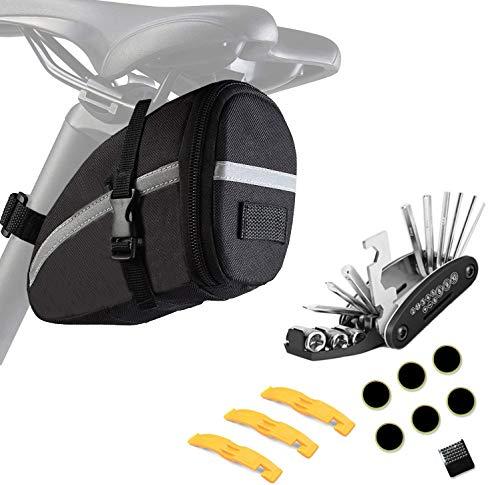 ZOSEN Bolsa para sillín de bicicleta con kit de herramientas de reparación, impermeable, bolsa de almacenamiento para herramientas de bicicleta con juego de reparación de mecánico multifuncional