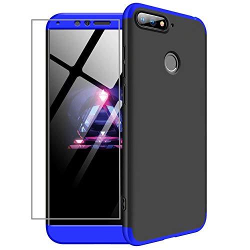 Funda Huawei Honor 7A/Y6 2018 Cubierta de 360°Caja AILZH protección de cáscara Dura Anti-Shock Anti-rasguño del Protector Completo del Cuerpo 360 Grados Caso Mate+ Vidrio Templado(Azul Negro)