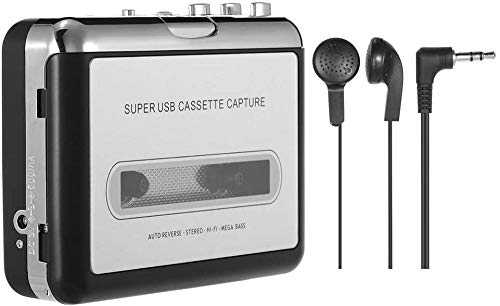 zhangli Portable Cassette Player - Portable Tape Player Captures Cassette Recorder via USB - for laptops and PC - convert Walkman tape cassettes to MP3 / CD with headphones