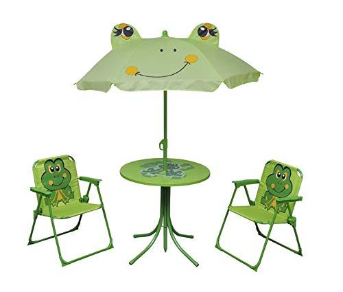 Arredo da giardino per bambini con ombrellone, tavolo rotondo da giardino con sedie, per giardino, patio, cortile, campeggio, 1 tavolo + 1 ombrellone + 2 sedie