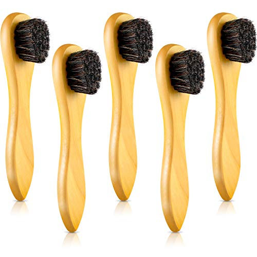 Jovitec 5 Pack Dauber Brush Shoes Polish Brush Horsehair Wooden Care Shine Polish Handle Clean Dauber for Shoes and Bags (Light Yellow)