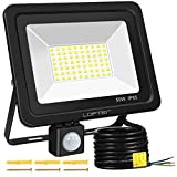 Motion Sensor LED Security Light, LOFTer Upgraded 50W 70LED 4000lm Ultra Bright PIR Sensor Outdoor Flood Light, IP65 Waterproof LED Security Lighting for Garden Backyard Garage Patio Doorways, 6000K