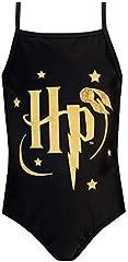 Harry Potter Bañador para Niña Negro 8-9 Años