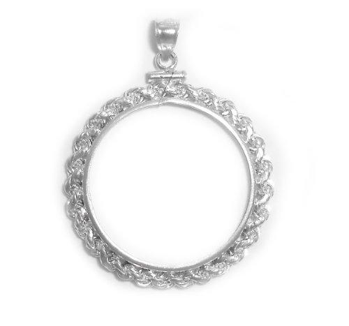 Flintski Jewelry British Two Pound Sterling Silver Rope Coin Bezel Frame Mount 28.45mm x 2.54mm