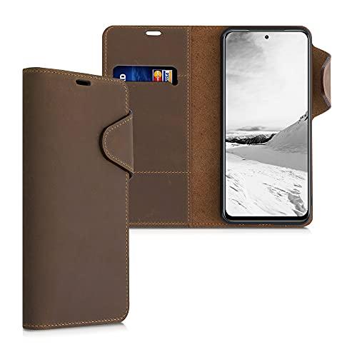 kalibri Hülle kompatibel mit Xiaomi Redmi Note 10 / Note 10S - Leder Handyhülle Handy Hülle Cover - Schutzhülle in Braun