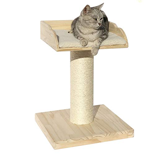 LXHONG Arbre A Chat Bois Massif Plateforme De Saut Mini Colonne De Saisie Griffe De Sisal Meubles pour Animaux (Color : Natural, Size : 40x40x54cm)