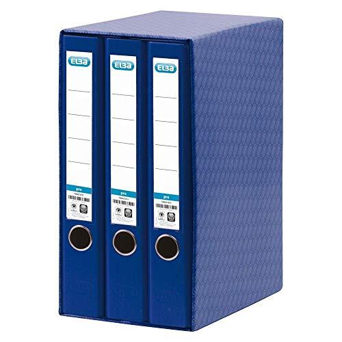 Elba 780991 - Caja para material de oficina con 3 archivadores, color azul