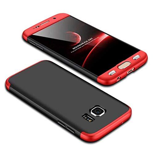 Homikon 360 Grad Hart PC Hülle 3 in 1 Komplettschutz Tasche Plastik Handyhülle mit Tempered Glas Panzerglas Ganzkörper-Koffer Schutzhülle Kompatibel mit Samsung Galaxy S6 Edge - Schwarz Rot