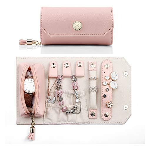 Vlando Rollie Portable Jewelry Roll Lipstick/Daily Jewelries Storage Soft Case Pink