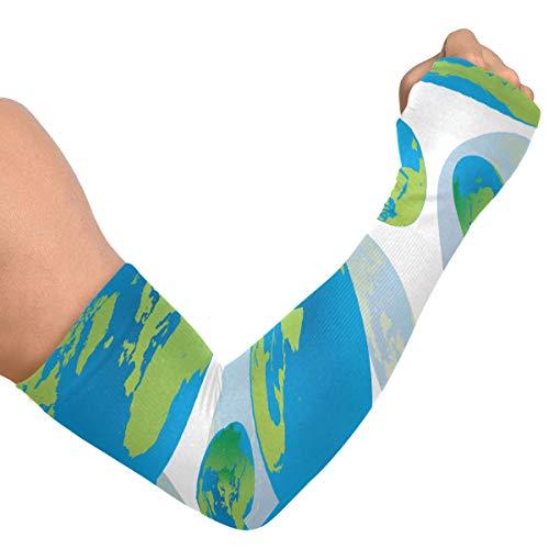 Manches de bras de gymnastique pour hommes Globes de terre sans soudure abstraits Pas de couvre-bras pour femmes Manches de soleil Couverture de bras en soie glacée unisexe pour la course à pied Cycl