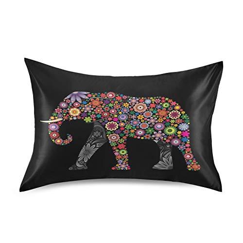 BGIFT - Funda de almohada de satén étnico, diseño de mandala, elefante y animales, tamaño king de 50 x 106 cm, con cierre de sobre, fundas para cabello y piel