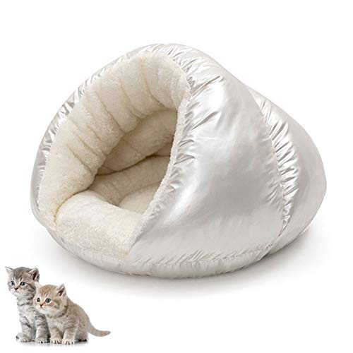 Cat Bed Cave House, Best for Indoor Cats Houses Heated Kitten Warm Pet Self Warming Caves Igloo Igloo Bed Pet Tent House,White