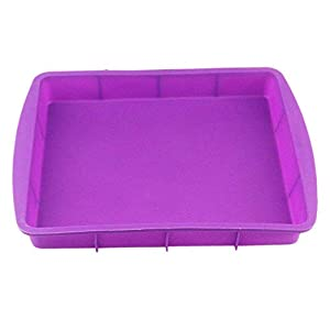 Orgrimmar 2 Packs Baking Silicone Rectangular Cake Pans Bakeware Bread Baking Mold NonStick Easy Demoulding Purple