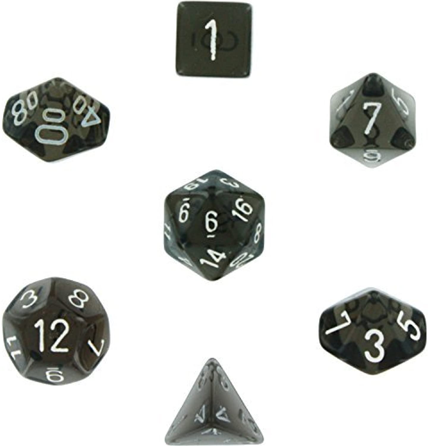 Polyhedral 7Die Translucent Chessex Dice Set  Smoke with White by Chessex